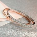 rose gold or sliver three colors  Roman numerals bangle Pierced 6cm titanium steel rhinestone bracelet 1pcs jewelry