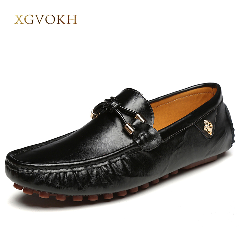 Men Loafers Black Solid Leather Driving Moccasins Mens Leisure Spring Casual Dress Flat xgvokh brand Men's Shoes Handmade Boat branded men s leather loafers leisure casual suede leather shoes for men business slip on boat shoes moccasins penny loafers