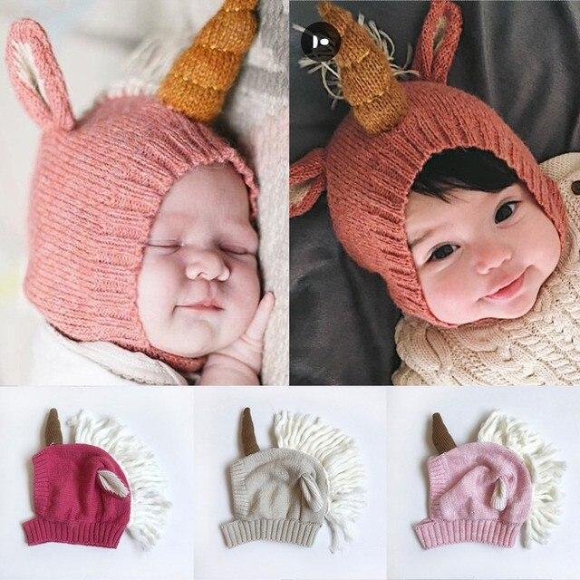 cute children baby girls knitted hat ear care warm wool unicorn baby. e182e4df9e10