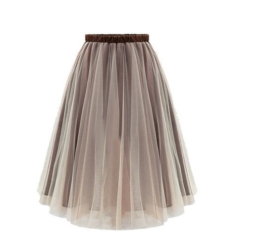 1pcs/lot free shipping european style woman organza long skirt lady summer solid casual skirt 2colors