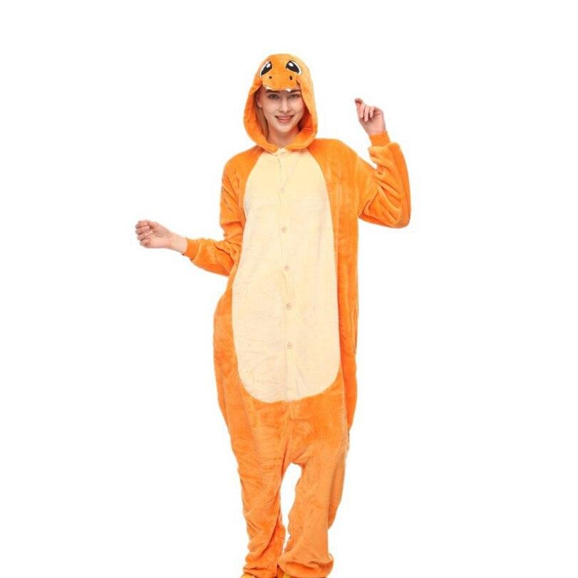 Зима животных для женщин осень фланель анимированные мультфильм пижама костюм оранжевый желтый милый Пижама с динозавром комплект