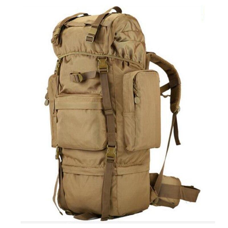 70 l multi-functional waterproof nylon backpack metal stents large capacity Travel bag high grade wearproof male bags цена 2017