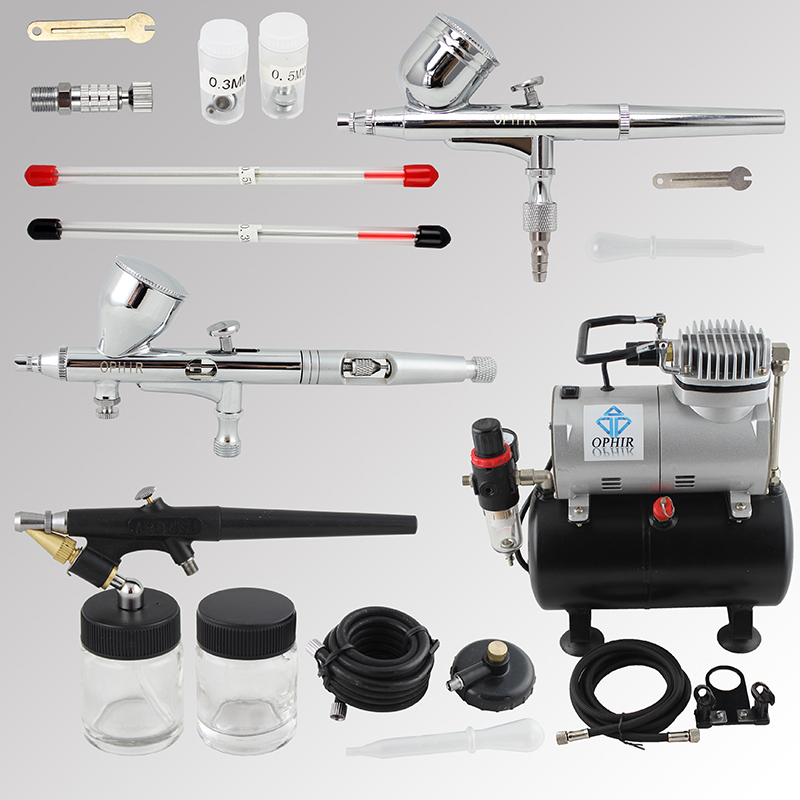OPHIR 3PCS Airbrush Spray Gun with PRO Air Tank Compressor for Model Hobby Body Paint Nail