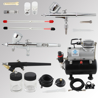 OPHIR 3PCS Airbrush Spray Gun with PRO Air Tank Compressor for Model Hobby Body Paint Nail Art Equipment _AC090+004A+071+070