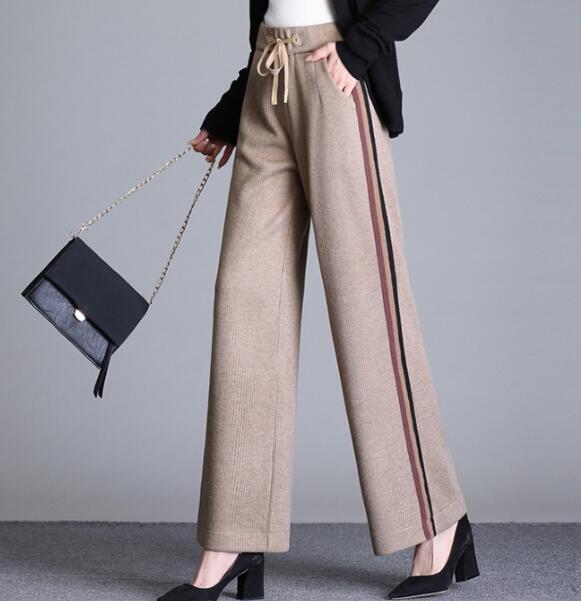 Capris kaki Nouvelle Haute Plus Taille Ealstic Femme Cok0804 Mode Jambe Pour Casual Large Noir marron Brun Pantalon Noir ardoisé Gris Femmes qwORWBv