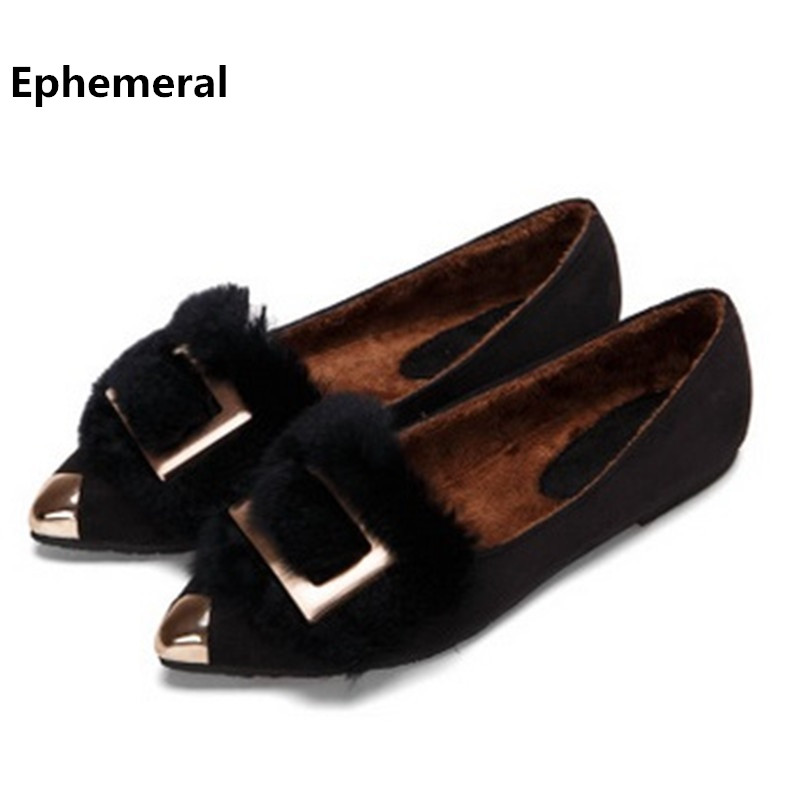 Female's Cute Rabbit Hair Pointy Toe Flock Ladies Flattie Shoes size 10 11 Glitter Home Footwear Winter Fur Warm Sinlge Slip-On цена
