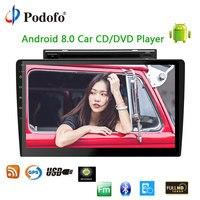 Podofo 2 din Android 8,0 wifi Автомобильный мультимедийный плеер авторадио 10,1 ''Автомобильный CD/DVD плеер Сенсорный экран аудио стерео gps навигации