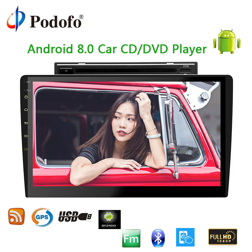 Podofo 2 din Android 8.0 wifi Car Multimedia player Autoradio 10.1'' Car CD/DVD Player Touch Screen Audio Stereo GPS Navigation