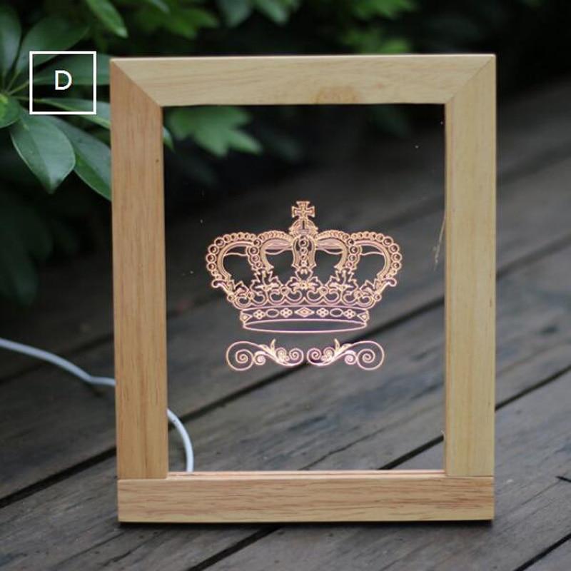 creative USB led lamps 3D wooden Nightlight table lamps creative birthday gift ai photo shipping wood desk lamp ZA815