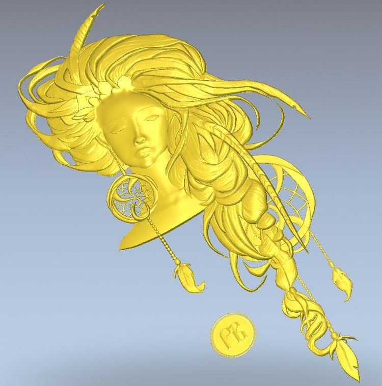 3d model relief  for cnc in STL file format Girl with feathers 3d model relief for cnc in stl file format the girl from the bathroom