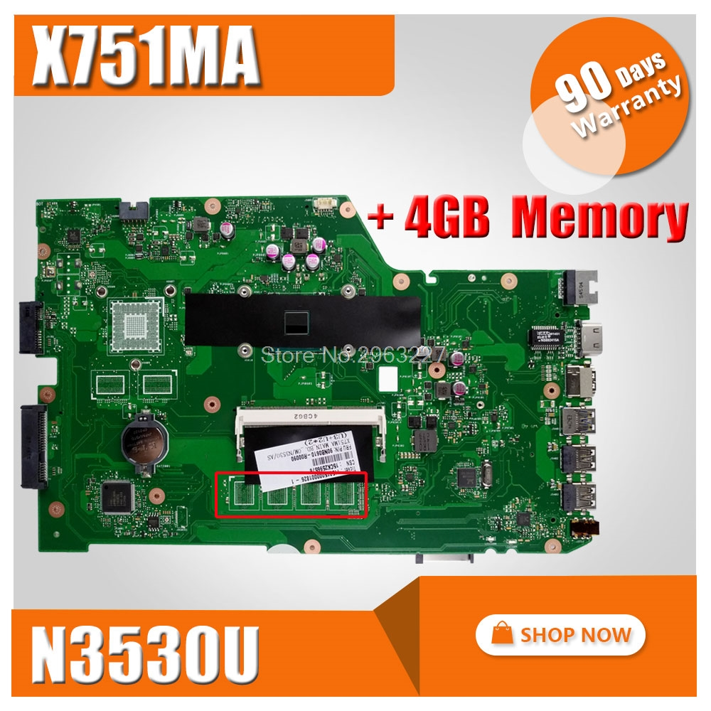 for ASUS X751MA motherboard X751MD REV2.0 Mainboard Processor N3530 4G Memory On Board Original 100% Tested for asus x75vd x75v x75vc x75vb x75vd x75vd1 r704v motherboard x75vd rev3 1 mainboard i3 2350 gt610 1g ram 4g memory 100