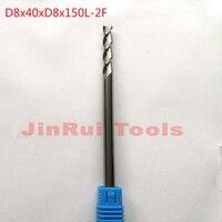 1pc D8 40 D8 150 HRC50 2 Flutes Solid Carbide Flat End Mills For Aluminum CNC