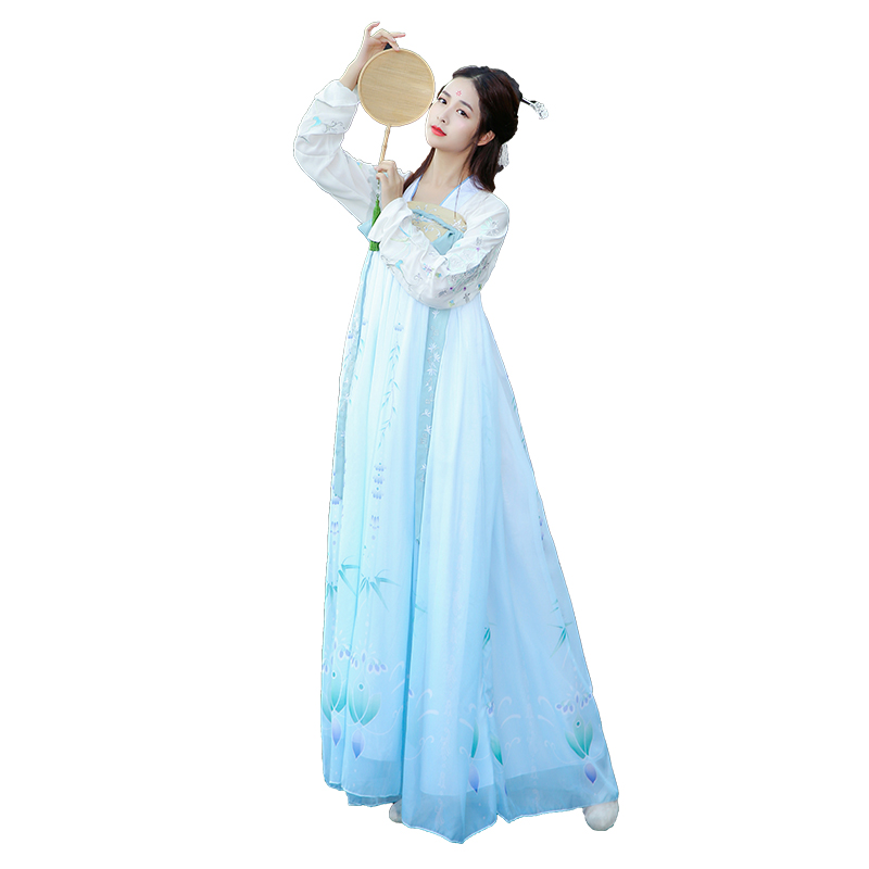 Women Hanfu Blue Printing Dance Costume For Singers Traditional Stage Wear Folk Dress Adult Oriental Performance Clothing DC1851