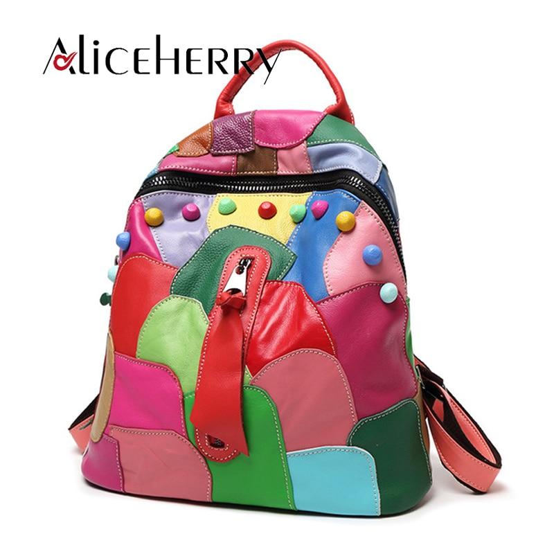 Women Backpack Genuine Sheepskin Leather Travel Bag Fashion Rivet Patchwork Student Design Backpacks россия 23280055080 розетка малинка 55 80