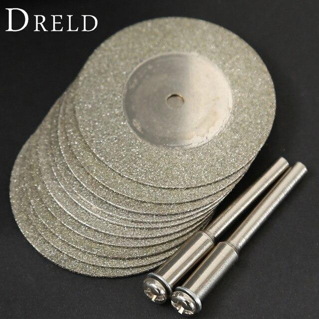 10 Stuks 35Mm Dremel Accessoires Steen Jade Glas Diamant Dremel Snijden Disc Fit Rotary Tool Dremel Boren Tool Met twee Doorn