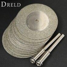 10 pièces 35mm dremel accessoires pierre Jade verre diamant dremel disque de coupe ajustement outil rotatif Dremel forets outil avec deux mandrin