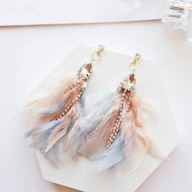 MENGJIQIAO 2018 New Arrival Elegant Colorful Feather Tassel Earrings For Women Shiny Crystal Beads Dangle Pendientes Mujer Moda
