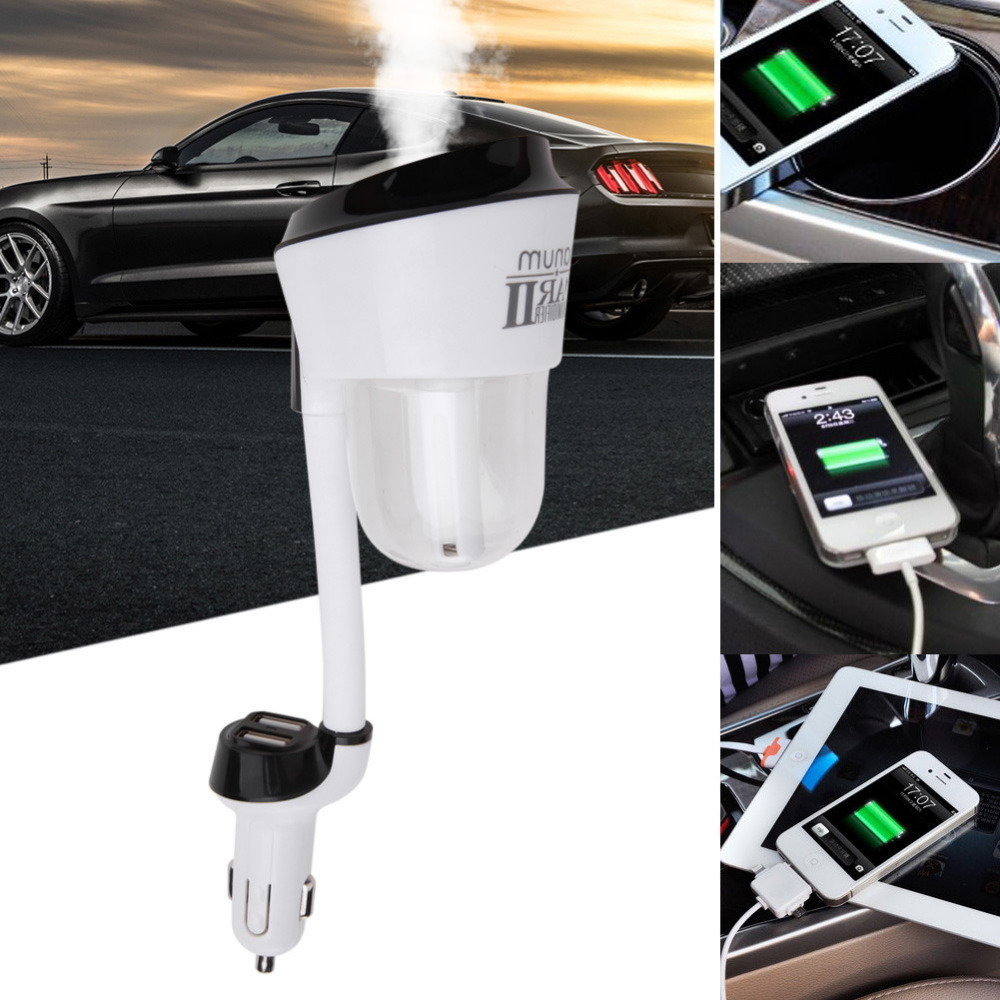 New 12V Car Steam Humidifier with 2pc Car Charger USB Air Purifier Freshener Aroma Oil Diffuser Aromatherapy Mist Maker Fogger 60w magsafe 2 car charger with usb port for apple macbook