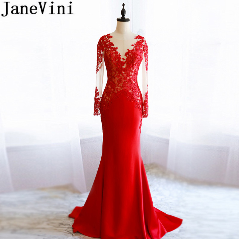 JaneVini Red Evening Long Sleeves Formal Dinner Gowns 2019 Beaded Sequins Lace Mermaid Sweep Train Mother Of The Bride Dresses