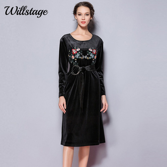 6efb7d3abf4 US $28.97 40% OFF|Willstage Black Velvet Dress Floral Embroidery Printed  Pattern Women Dresses with Sashes Elegant Party dress New Spring  Vestidos-in ...