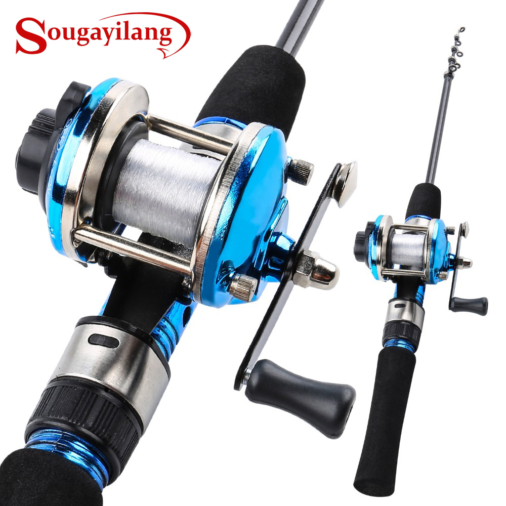Sougayilang 1.2m Blue Mini Telescopic Carbon Ice Fishing Rod With Trolling Reel Combo Portable Ice Fishing Reel Pole Sets Tackle