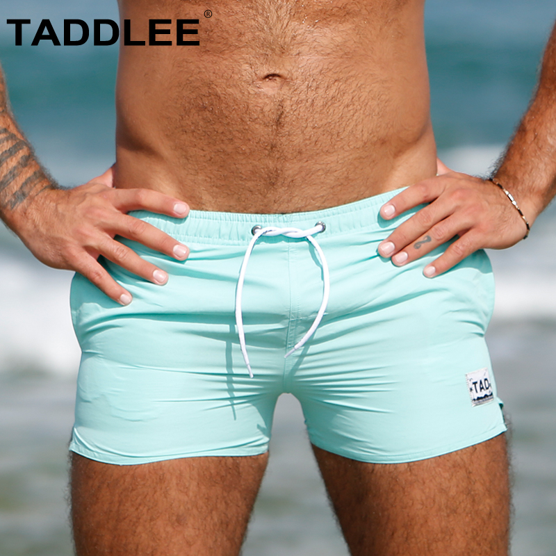 Taddlee Brand Sexy Men's Boardshorts Beach Boxer Trunks Swimwear   Short   Swimsuits Solid Swim   Shorts   Quick Dry Surf Long Beachwear