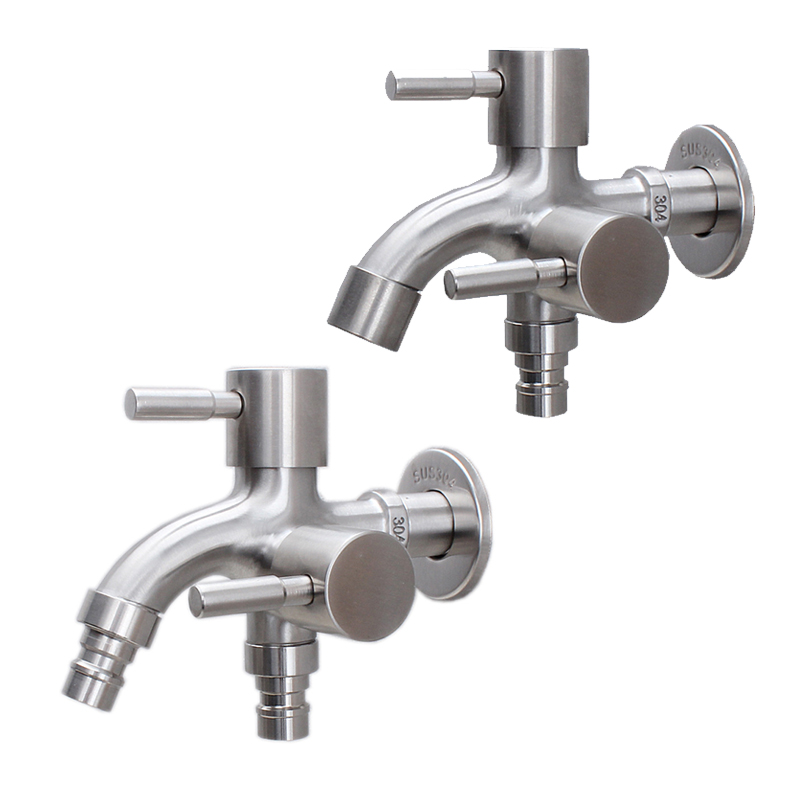 Stainless Steel Washing Machine Faucet 1in 2 Out Multifunctional Water Tap Double Bibcock Outdoor Garden Washing Machine Mop Tap