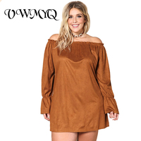 Vestido Plus Size Summer Dresses Women 2017 Fashion Slash Neck Long Sleeve Solid Color Off the Shoulder Elegant Mini Dress 3XL
