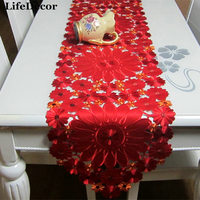Glaze embroidery table cloth cutout embroidered table runner fabric satin luxury red noble fashion dining table cloth