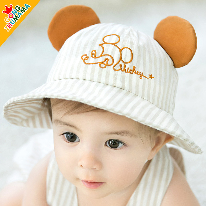 28fa1a4c564 Summer Cotton Infant Baby Hat Sun Cap Outdoor Toddler Kids Summer Hat with  Ear Baby Girls Boys Beach Bucket Hat for 0-12M