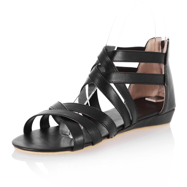 Flat gladiator Sandals Women bohemia casual shoes flat sandals shoes for women straps Zip Factory sales Big size 40 41 42 43