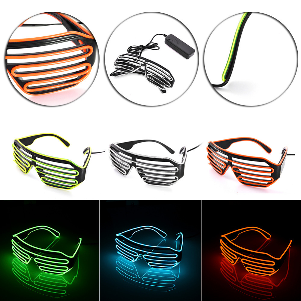 LED Blinds Glasses Flashing EL Wire Luminous Party DIY Decorative Light Up Shades Flashing Rave Wedding Party Activing Props