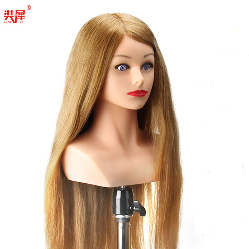 "24""  Mannequin Head High Grade 80% Real Hair Hairdressing Head Dummy Nice Dolls Blonde Long Hair Training Head With Shoulder"