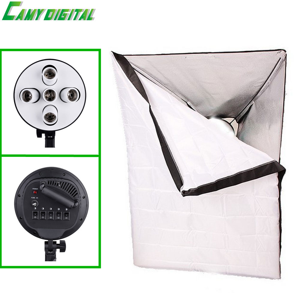 Photographic Equipment Photo Studio Softbox 50x70cm with Single Lamp Holder 1 E27 to 5 E27 socket head Continuous Lighting ashanks photographic equipment 5 e27 socket lamp holder with 60x90cm softbox photo studio light tent box kit continuous lighting