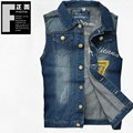 New Arrival High Quality Mens Denim Vest Brand Jeans Vest Men Cowboy Vest Sleeveless Jacket Waistcoat Plus Size Free Shipping