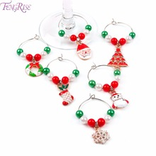 FENGRISE 6pcs Christmas Mixed Wine Glass Charm Decorations for Home Santa Claus Xmas Pendant Metal Ring New Year Decor