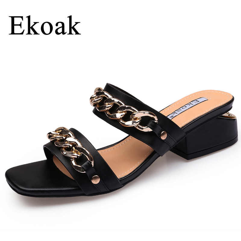 Ekoak 2018 Fashion Metal Chains Women Sandals Summer Shoes Woman High Heels Shoes Gladiator Sandals Ladies Beach Casual Shoes brand shoes woman flock gladiator sandals women summer dress shoes lace up high heels fringe beach casual shoes ladies sandals