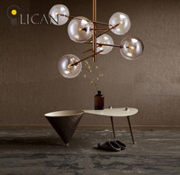 Lican loft Nordic Iron Ceiling light living room creative clear glass Vintage luminaire Ceiling lamp Branching Bubble lights