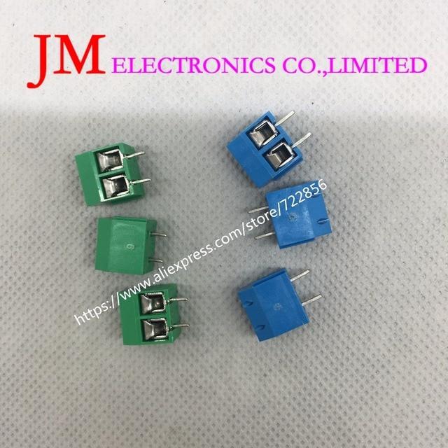 20PCS/LOT KF301-2P KF301-5.0-2P KF301 Screw 2Pin 5.0mm Straight Pin PCB Screw Terminal Block Connector Blue and green