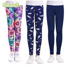 SLAIXIU, тонкие леггинсы для девочек, эластичные детские узкие брюки из мягкого полиэстера с цветочным принтом, леггинсы для девочек, От 2 до 13 лет Одежда для маленьких девочек