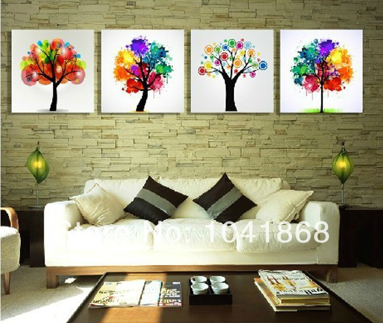 top home decoration modern frameless wishing tree feng shui pictures