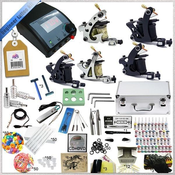 Профессиональный Полное Татуировки Kit 5 Пулеметы Ротари Машина комплекты Оборудования + чернила + Питание + Игла + CD для Начинающих Боди-Арт # T