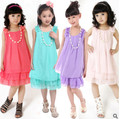 2016 summer new children's clothing chiffon dress child princess dress lace vest dress big virgin girls dance clothes 2-12 years
