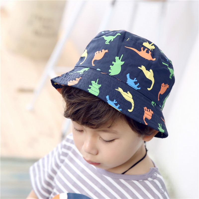 6e86b506a76 Children Boys Sun Hats Spring Summer Caps Cotton Bucket Hat Infant Kids Boy  Zoo Animals Cap Dinosaur Patterns 1 4 Years Baby-in Hats   Caps from Mother  ...