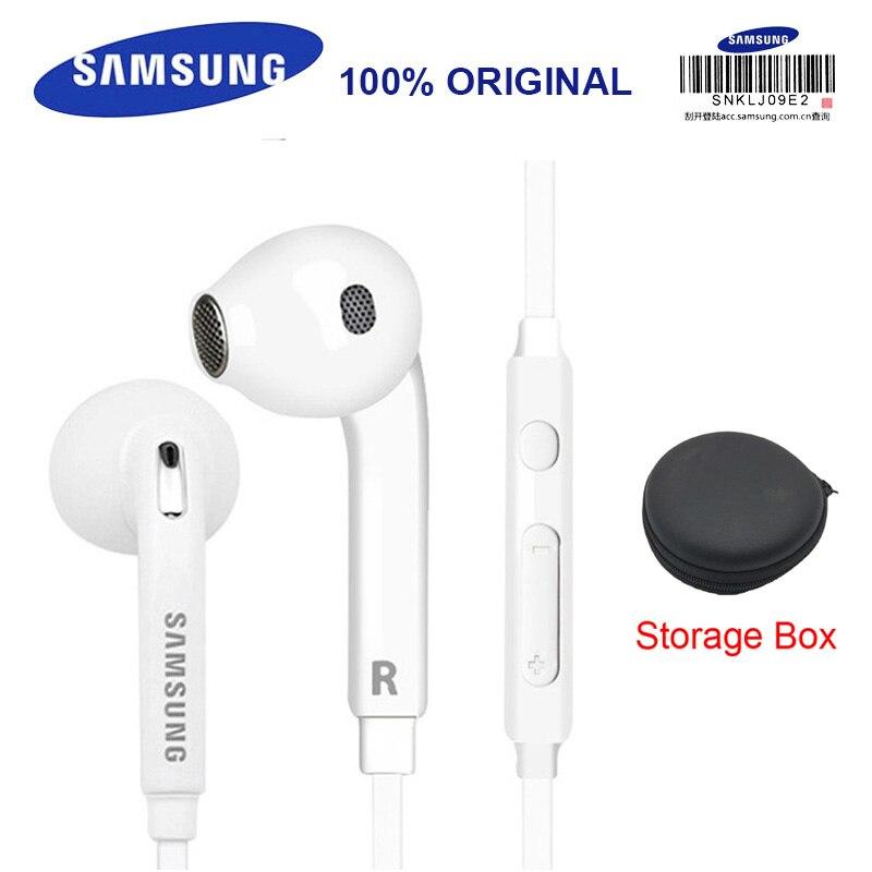 SAMSUNG Original EO-EG920BW Earphones Wired 3.5mm with Mic 1.2m In-ear Stereo Sport Earphones for Samsung S8 S8Edge Storage Box ovevo s8 wired in ear earphones black