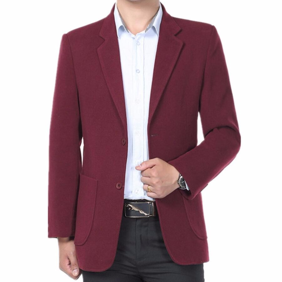 9.1 Men jacket wool custom business coat winter formal occasions two buttons pure color to keep warm men jacket