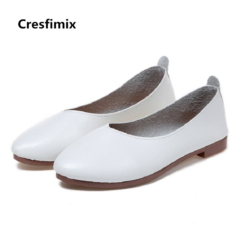 Cresfimix chaussures plates women fashion soft pu leather slip on white flat shoes lady casual somfortable biege shoes a2415Cresfimix chaussures plates women fashion soft pu leather slip on white flat shoes lady casual somfortable biege shoes a2415