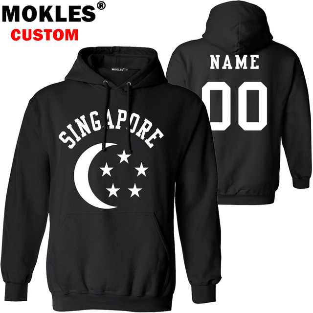 f387d4164319 SINGAPORE pullover logo custom name number autumn winter sg jersey keep warm  hat sgp flag malay nation country pure blue clothes