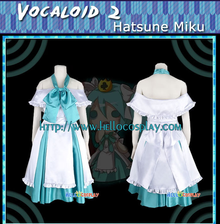 Japanese Anime Outfit Vocaloid 2 Cosplay Hatsune Miku Blue Dress H008
