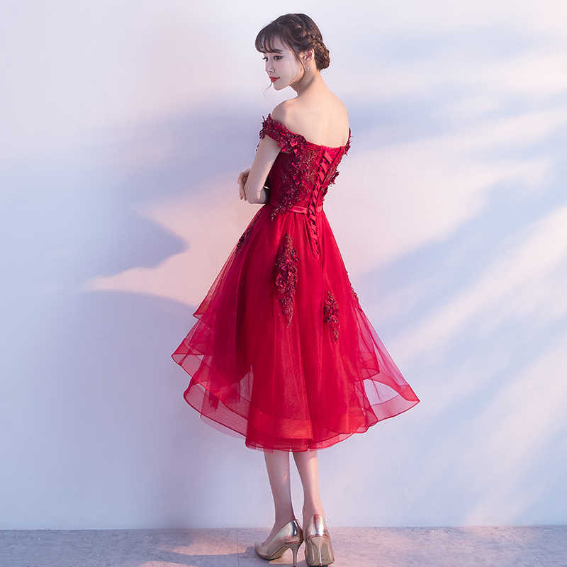 5fc125e2209 ... Wine Red High Low Prom Dresses 2019 Sexy Boat Neck Off The Shoulder  Luxury Appliques Flower ...